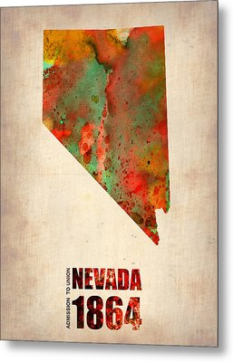 Nevada Watercolor Map Metal Print by Naxart Studio