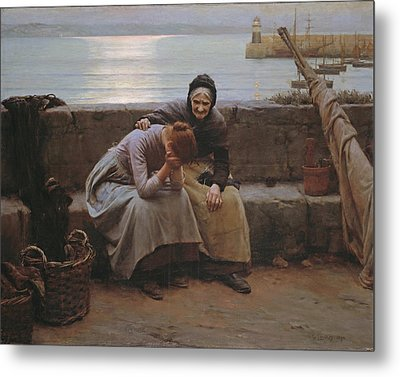 Never Morning Wore To Evening But Some Heart Did Break Metal Print by Walter Langley