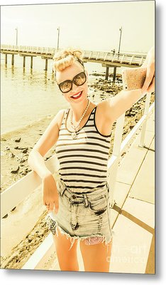 New Age Pin Up Taking Phone Selfie Metal Print by Jorgo Photography - Wall Art Gallery