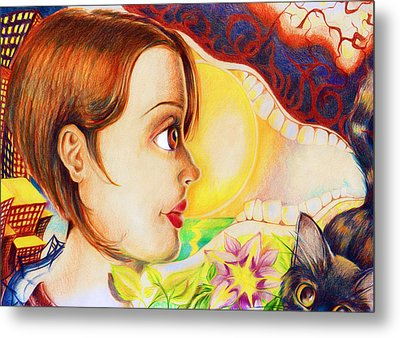 Metal Print featuring the drawing New Beginning by Shawna Rowe