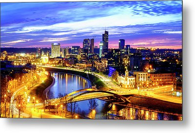 Metal Print featuring the photograph New Center Of Vilnius by Fabrizio Troiani