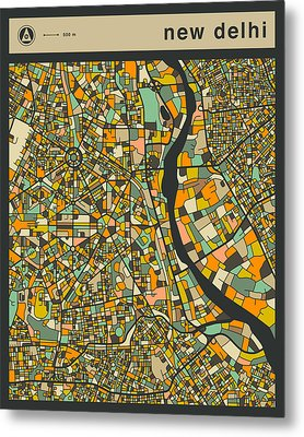 New Delhi City Map Metal Print by Jazzberry Blue