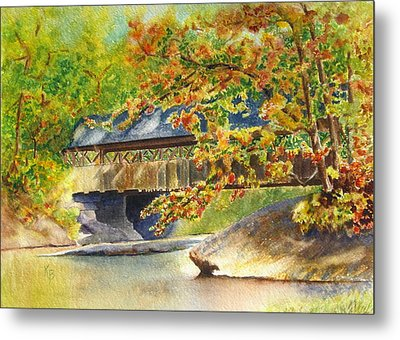 New England  Covered Bridge Metal Print by Karen Fleschler