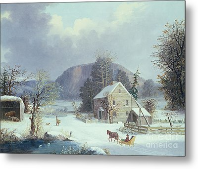 New England Farm By A Winter Road, 1854  Metal Print by George Durrie