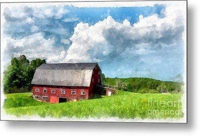 New England Farm Landscape Watercolor Metal Print