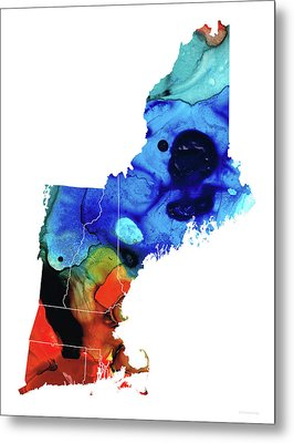 New England - Map By Sharon Cummings Metal Print by Sharon Cummings