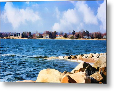 New England Shoreline - Painterly Metal Print