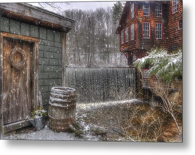 New England Snow Scenes - Frye's Measure Mill - Wilton, Nh Metal Print by Joann Vitali