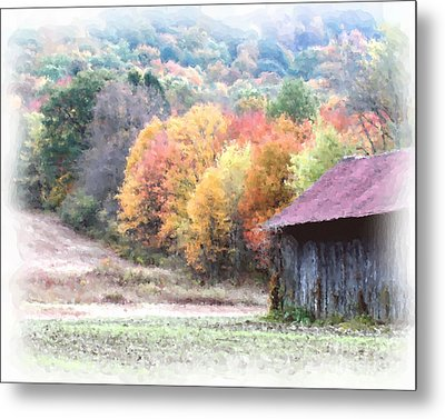 New England Tobacco Barn In Watercolor Metal Print