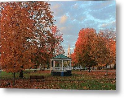 New England Town Common Autumn Morning Metal Print by John Burk
