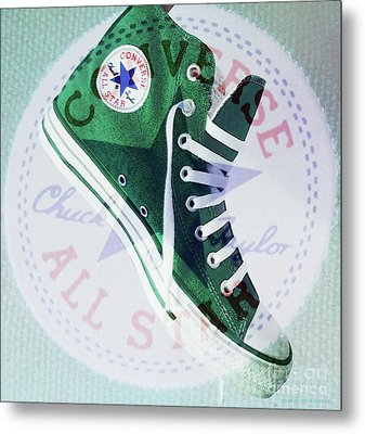 New Green Converse Metal Print