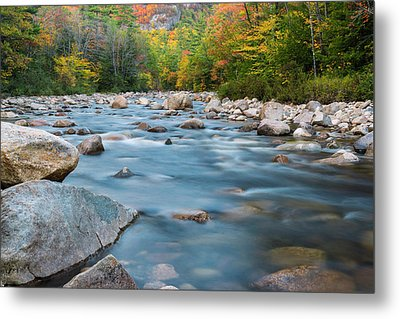New Hampshire Swift River And Fall Foliage In Autumn Metal Print