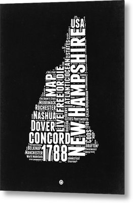 New Hampshire Word Cloud Black And White Map Metal Print by Naxart Studio