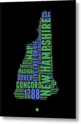 New Hampshire Word Cloud Map 1 Metal Print by Naxart Studio
