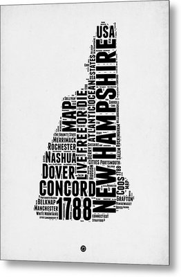 New Hampshire Word Cloud Map 2 Metal Print by Naxart Studio