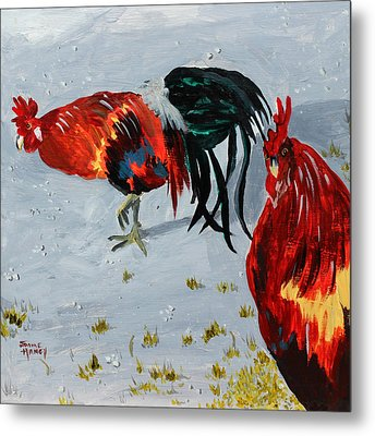 New Harmony Roosters Metal Print by Jaime Haney