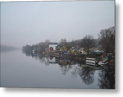 New Hope River View On A Misty Day Metal Print by Bill Cannon