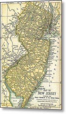 New Jersey Antique Map 1891 Metal Print