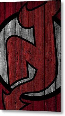 New Jersey Devils Wood Fence Metal Print