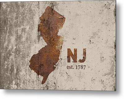 New Jersey State Map Industrial Rusted Metal On Cement Wall With Founding Date Series 026 Metal Print by Design Turnpike