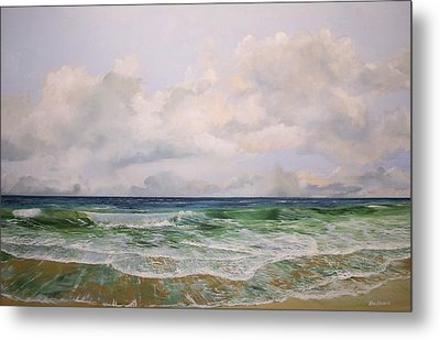 Metal Print featuring the painting New Jersey Surf by Ken Ahlering