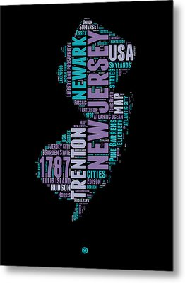 New Jersey Word Cloud 1 Metal Print by Naxart Studio