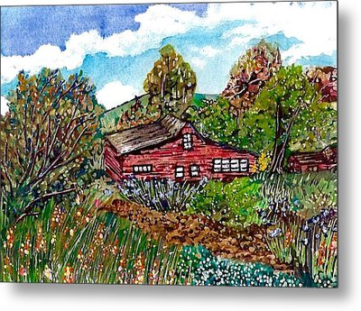 New Mexico Red House  Metal Print by M E Wood