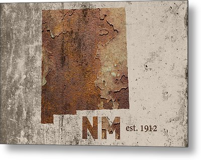 New Mexico State Map Industrial Rusted Metal On Cement Wall With Founding Date Series 047 Metal Print