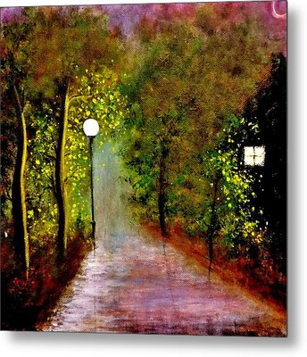 Metal Print featuring the painting New Moon... by Cristina Mihailescu