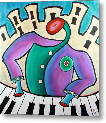Metal Print featuring the painting New Orleans Cool Jazz Piano by Bob Baker