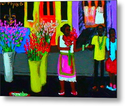 Metal Print featuring the painting New Orleans Lady Selling Flowers by Angela Annas