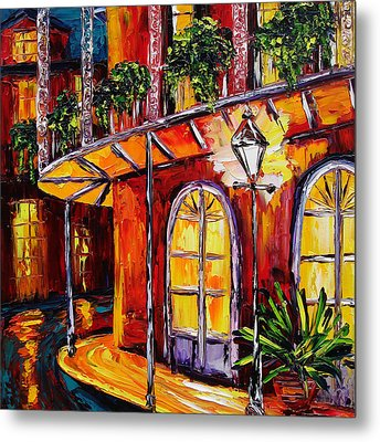 New Orleans Original Oil Painting French Quarter Glow Metal Print by Beata Sasik