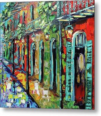 New Orleans Painting - Glowing Lanterns Metal Print by Beata Sasik