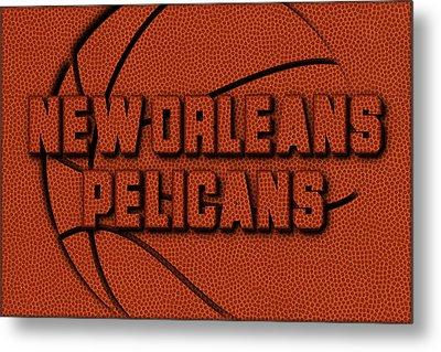 New Orleans Pelicans Leather Art Metal Print