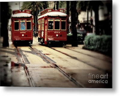 New Orleans Red Streetcars Metal Print by Perry Webster