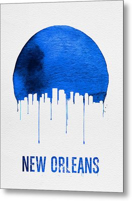 New Orleans Skyline Blue Metal Print by Naxart Studio
