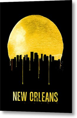 New Orleans Skyline Yellow Metal Print by Naxart Studio