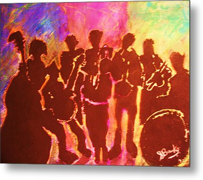 New Orleans Street Band At Sunset Metal Print by Samuel Banks