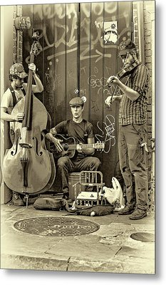 New Orleans Street Musicians - Paint Sepia Metal Print by Steve Harrington