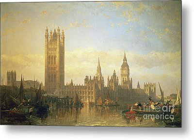 New Palace Of Westminster From The River Thames Metal Print