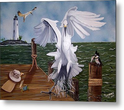 New Point Egret Metal Print by Debbie LaFrance