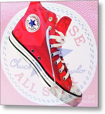 New Red Converse Metal Print