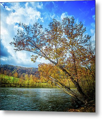 New River In Fall Metal Print