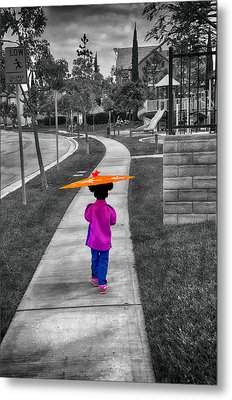 Gia Walk To Playground Metal Print by Joseph Hollingsworth