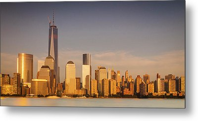 New World Trade Memorial Center And New York City Skyline Panorama Metal Print by Ranjay Mitra