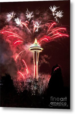 New Years At The Space Needle Metal Print