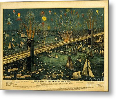 Metal Print featuring the photograph New York And Brooklyn Bridge Opening Night Fireworks by John Stephens