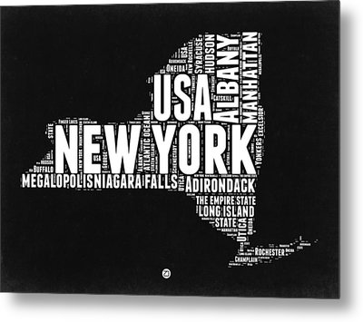 New York Black And White Word Cloud Map Metal Print