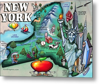 New York Cartoon Map Metal Print