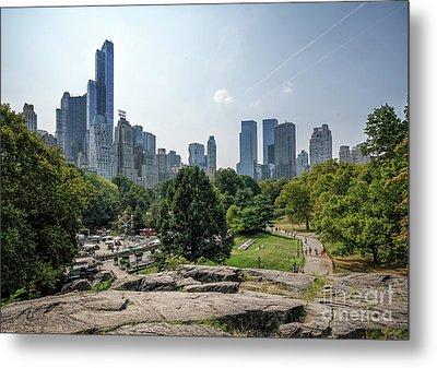 New York Central Park With Skyline Metal Print